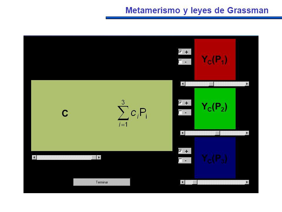 C 1 P 1 2 P 2 3 P 3 C c1P1c1P1 c2P2c2P2 c3P3c3P3 C YC(P1)YC(P1) YC(P2)YC(P2) YC(P3)YC(P3) Metamerismo y leyes de Grassman