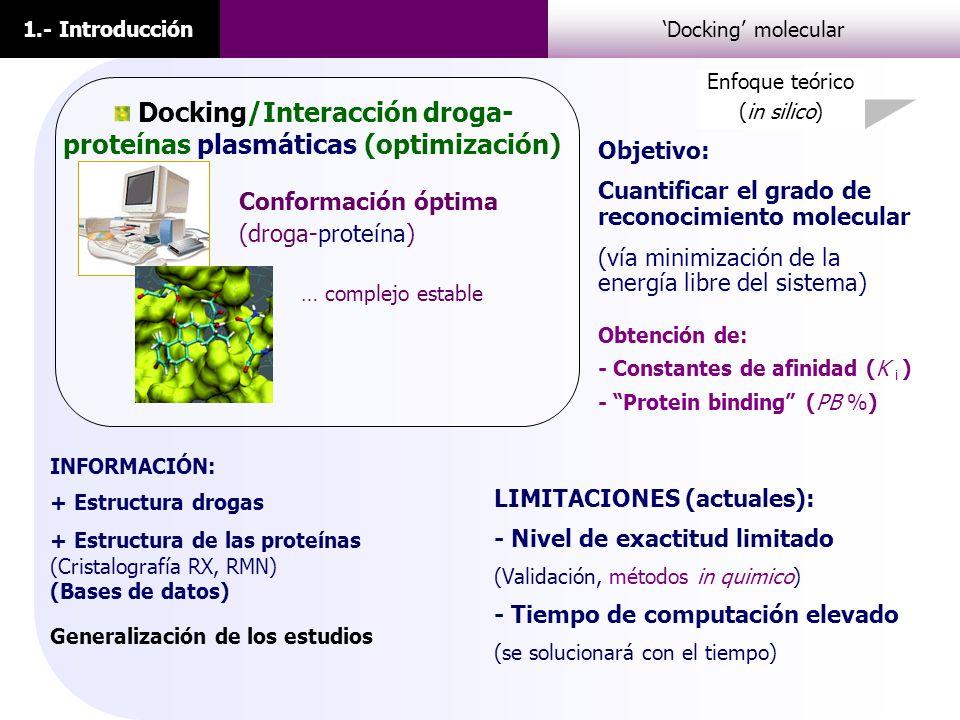 1.- IntroducciónDocking molecular INFORMACIÓN: + Estructura drogas + Estructura de las proteínas (Cristalografía RX, RMN) (Bases de datos) Conformació