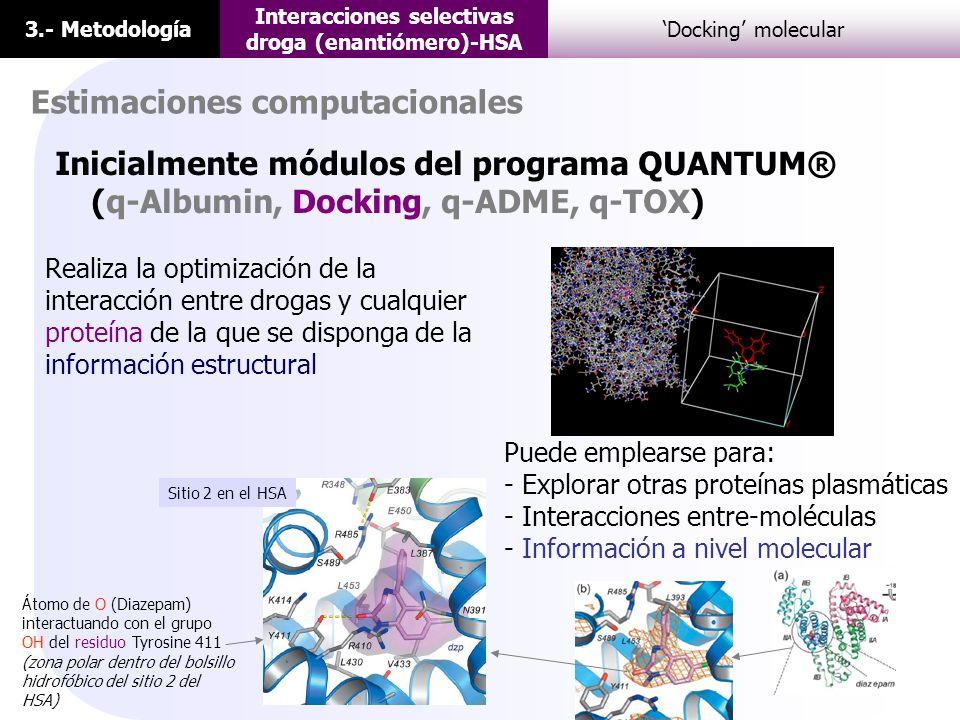 3.- Metodología Interacciones selectivas droga (enantiómero)-HSA Docking molecular Estimaciones computacionales Realiza la optimización de la interacc
