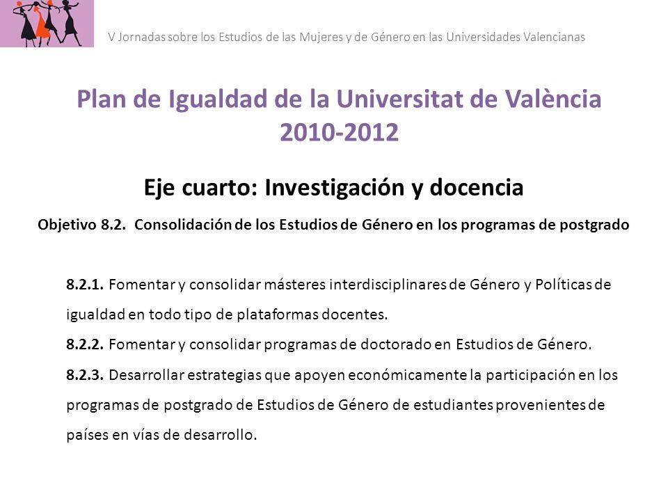 Plan de Igualdad de la Universitat de València 2010-2012 V Jornadas sobre los Estudios de las Mujeres y de Género en las Universidades Valencianas Eje