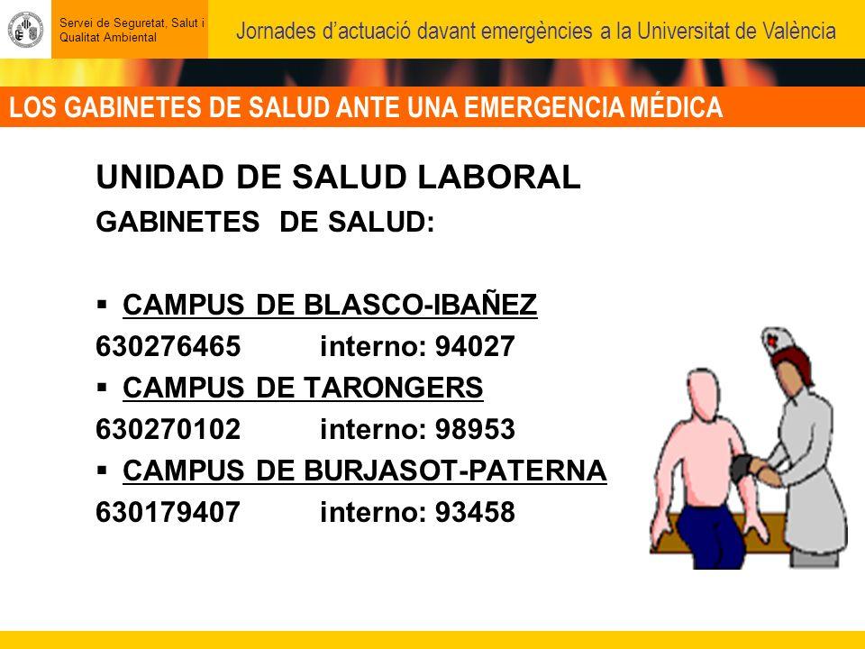 LOS GABINETES DE SALUD ANTE UNA EMERGENCIA MÉDICA Servei de Seguretat, Salut i Qualitat Ambiental Jornades dactuació davant emergències a la Universitat de València UNIDAD DE SALUD LABORAL GABINETES DE SALUD: CAMPUS DE BLASCO-IBAÑEZ 630276465 interno: 94027 CAMPUS DE TARONGERS 630270102 interno: 98953 CAMPUS DE BURJASOT-PATERNA 630179407 interno: 93458