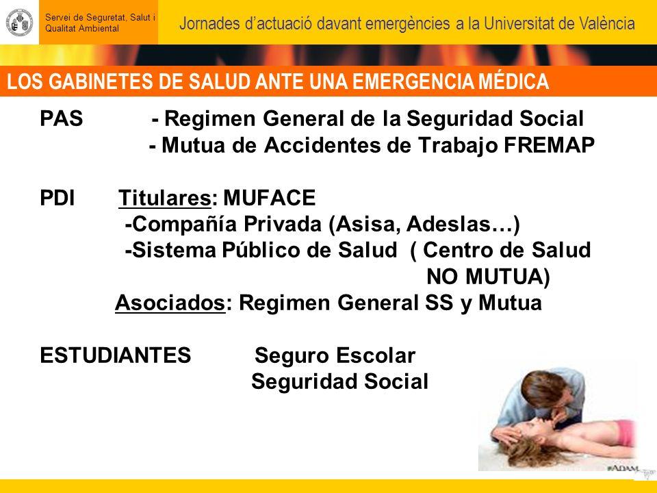 LOS GABINETES DE SALUD ANTE UNA EMERGENCIA MÉDICA Servei de Seguretat, Salut i Qualitat Ambiental Jornades dactuació davant emergències a la Universitat de València PAS - Regimen General de la Seguridad Social - Mutua de Accidentes de Trabajo FREMAP PDI Titulares: MUFACE -Compañía Privada (Asisa, Adeslas…) -Sistema Público de Salud ( Centro de Salud NO MUTUA) Asociados: Regimen General SS y Mutua ESTUDIANTES Seguro Escolar Seguridad Social