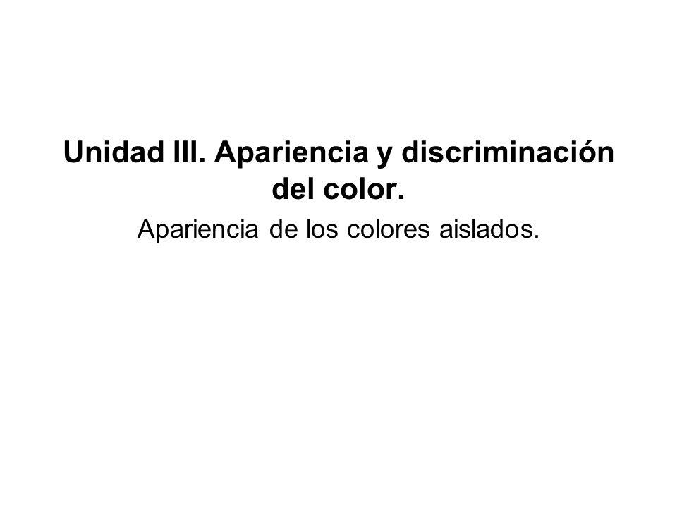 Unidad III. Apariencia y discriminación del color. Apariencia de los colores aislados.