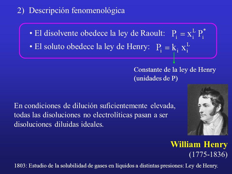2)Descripción fenomenológica El disolvente obedece la ley de Raoult: El soluto obedece la ley de Henry: Constante de la ley de Henry (unidades de P) W