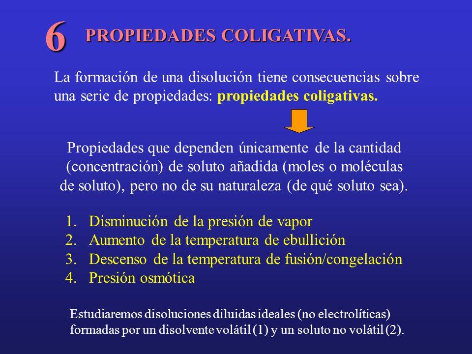PROPIEDADES COLIGATIVAS. 6 1.Disminución de la presión de vapor 2.Aumento de la temperatura de ebullición 3.Descenso de la temperatura de fusión/conge