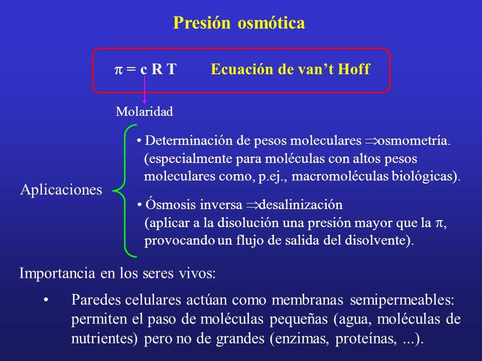 Presión osmótica = c R TEcuación de vant Hoff Molaridad Importancia en los seres vivos: Paredes celulares actúan como membranas semipermeables: permit