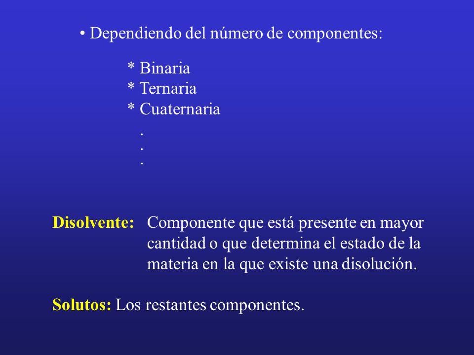 Dependiendo del número de componentes: * Binaria * Ternaria * Cuaternaria. Disolvente: Componente que está presente en mayor cantidad o que determina