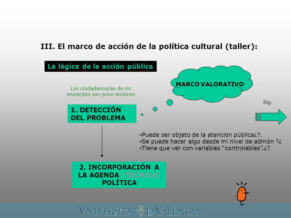 III. El marco de acción de la política cultural (taller): La lógica de la acción pública 1.