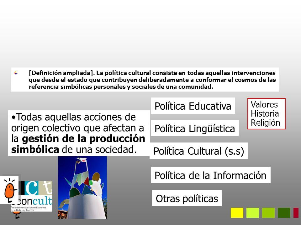 Industrias culturales Prácticas culturales Sectores creativos Recursos culturales Consumo de Cultura Ocio Ubicación de la política cultural en el sector cultural Políticas Culturales