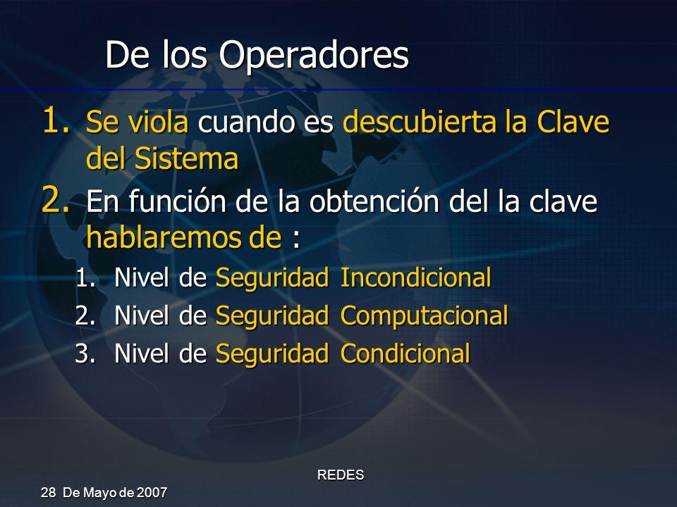 28 De Mayo de 2007 REDES De los Operadores 1. Se viola cuando es descubierta la Clave del Sistema 2. En función de la obtención del la clave hablaremo