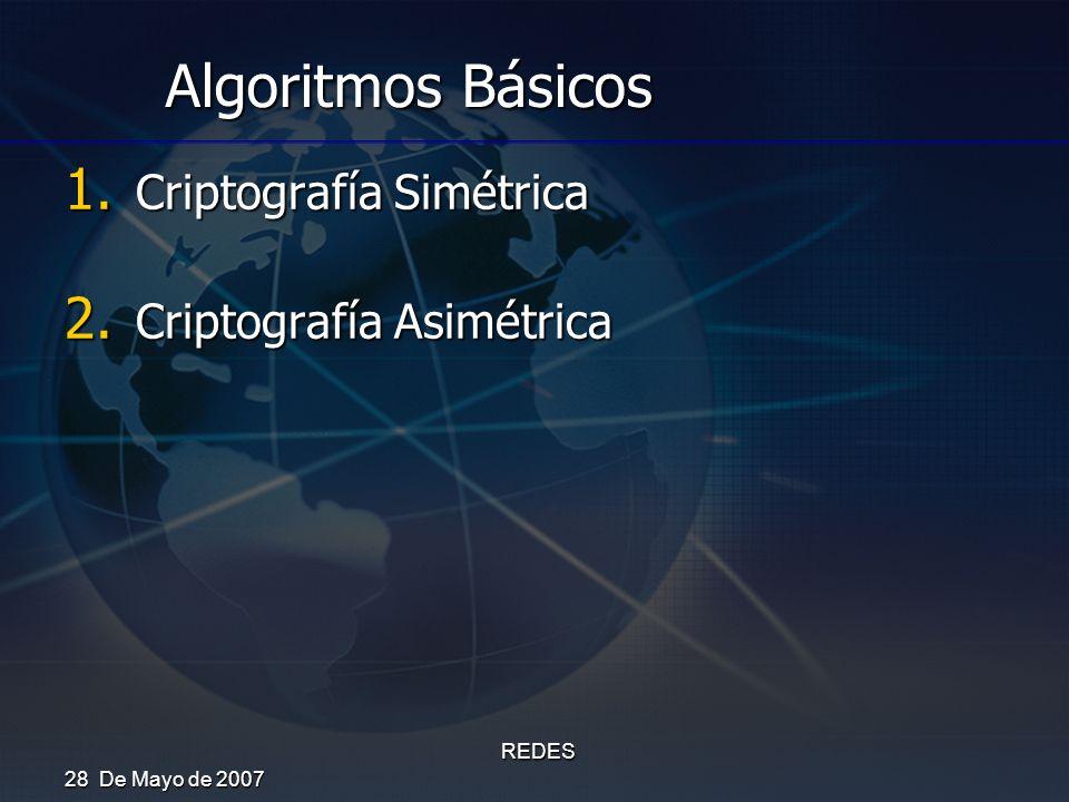 28 De Mayo de 2007 REDES Algoritmos Básicos 1. Criptografía Simétrica 2. Criptografía Asimétrica