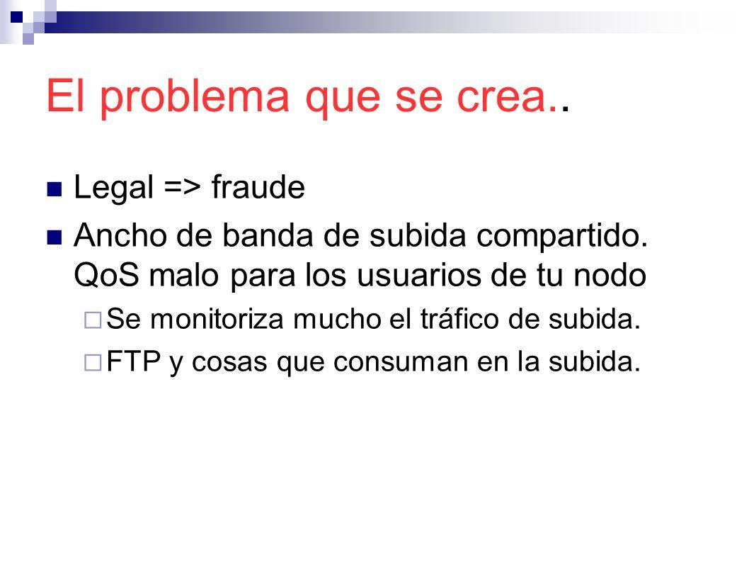 El problema que se crea.. Legal => fraude Ancho de banda de subida compartido. QoS malo para los usuarios de tu nodo Se monitoriza mucho el tráfico de