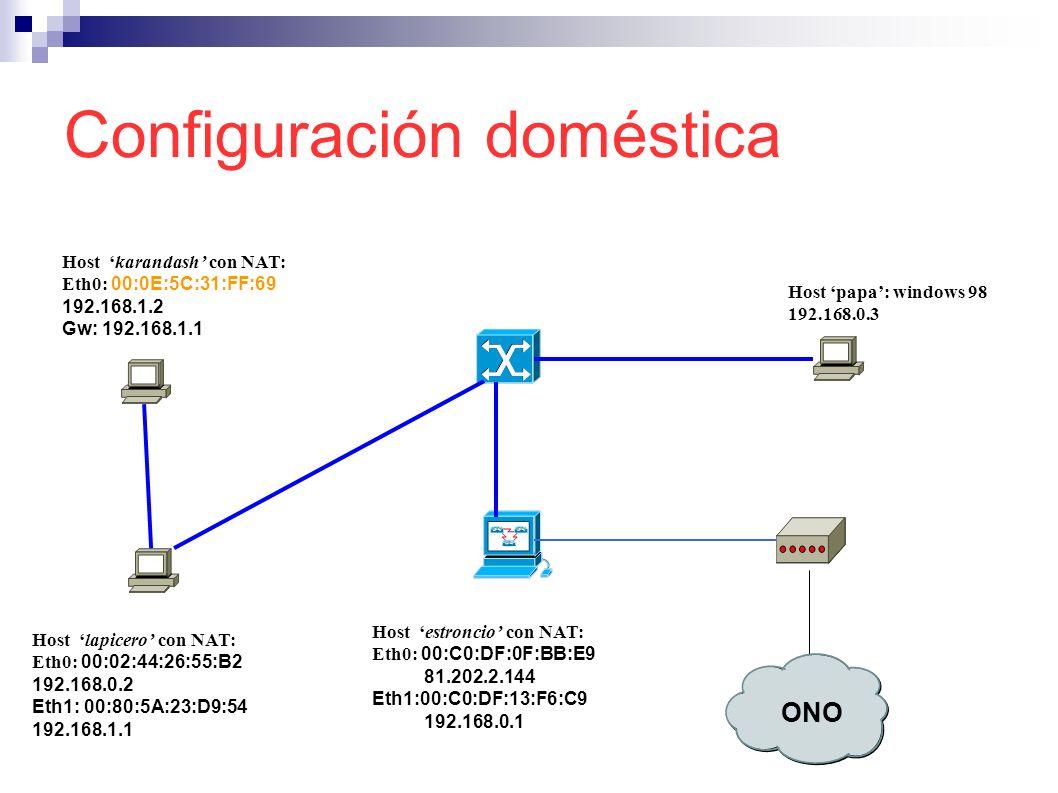 Configuración doméstica Host estroncio con NAT: Eth0: 00:C0:DF:0F:BB:E9 81.202.2.144 Eth1:00:C0:DF:13:F6:C9 192.168.0.1 Host papa: windows 98 192.168.