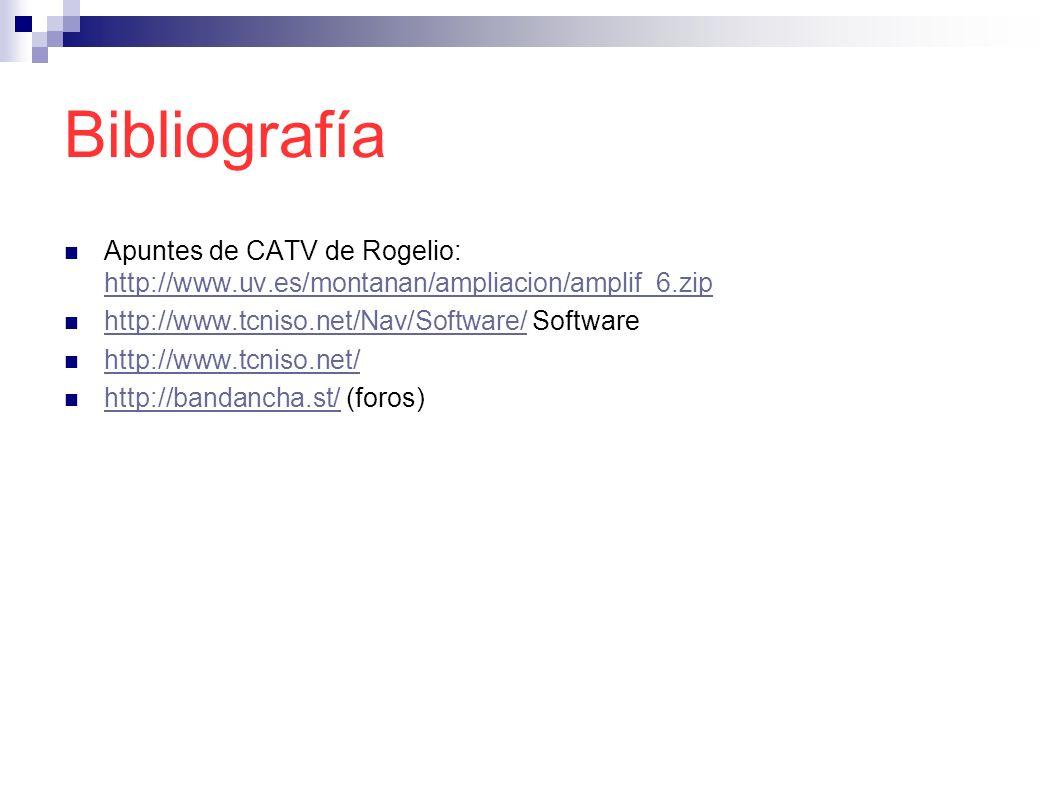 Bibliografía Apuntes de CATV de Rogelio: http://www.uv.es/montanan/ampliacion/amplif_6.zip http://www.uv.es/montanan/ampliacion/amplif_6.zip http://ww