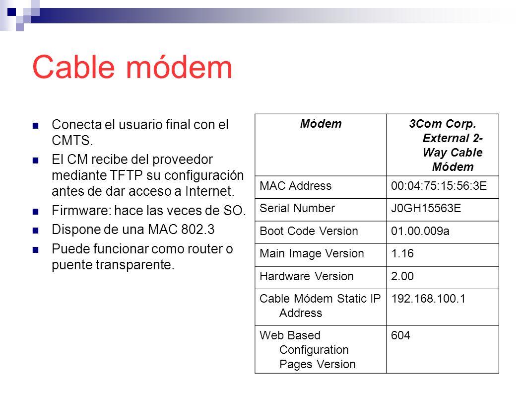 Cable módem Conecta el usuario final con el CMTS. El CM recibe del proveedor mediante TFTP su configuración antes de dar acceso a Internet. Firmware: