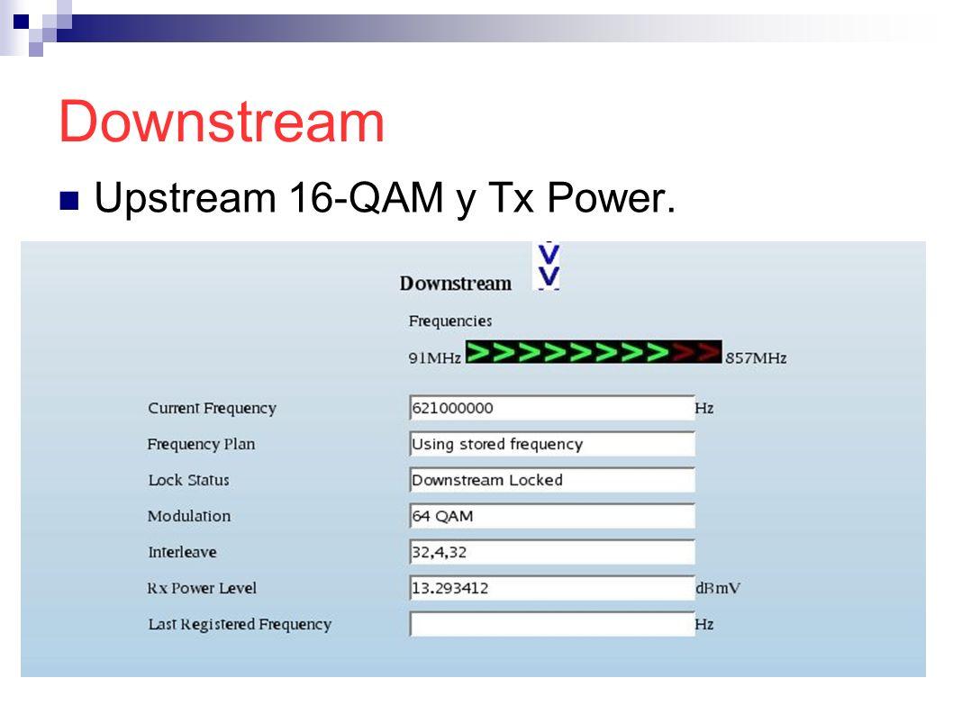 Downstream Upstream 16-QAM y Tx Power.