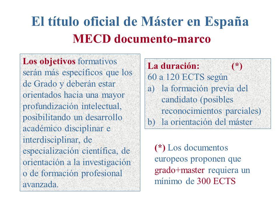 El título oficial de Máster en España MECD documento-marco Los objetivos formativos serán más específicos que los de Grado y deberán estar orientados hacia una mayor profundización intelectual, posibilitando un desarrollo académico disciplinar e interdisciplinar, de especialización científica, de orientación a la investigación o de formación profesional avanzada.