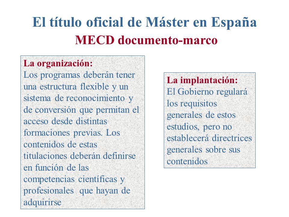 El título oficial de Máster en España MECD documento-marco La organización: Los programas deberán tener una estructura flexible y un sistema de reconocimiento y de conversión que permitan el acceso desde distintas formaciones previas.
