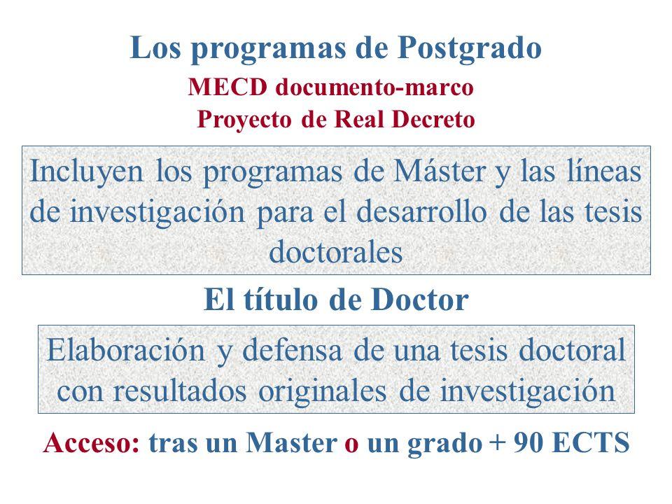 El título de Doctor Elaboración y defensa de una tesis doctoral con resultados originales de investigación Acceso: tras un Master o un grado + 90 ECTS Los programas de Postgrado MECD documento-marco Proyecto de Real Decreto Incluyen los programas de Máster y las líneas de investigación para el desarrollo de las tesis doctorales