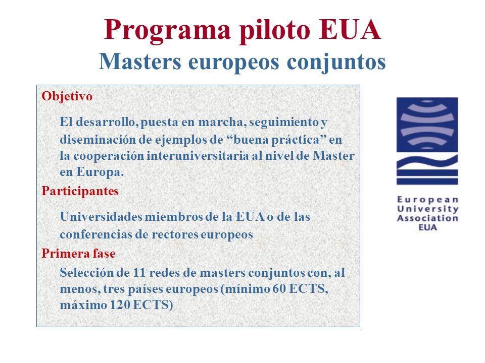 Programa piloto EUA Masters europeos conjuntos Objetivo El desarrollo, puesta en marcha, seguimiento y diseminación de ejemplos de buena práctica en la cooperación interuniversitaria al nivel de Master en Europa.