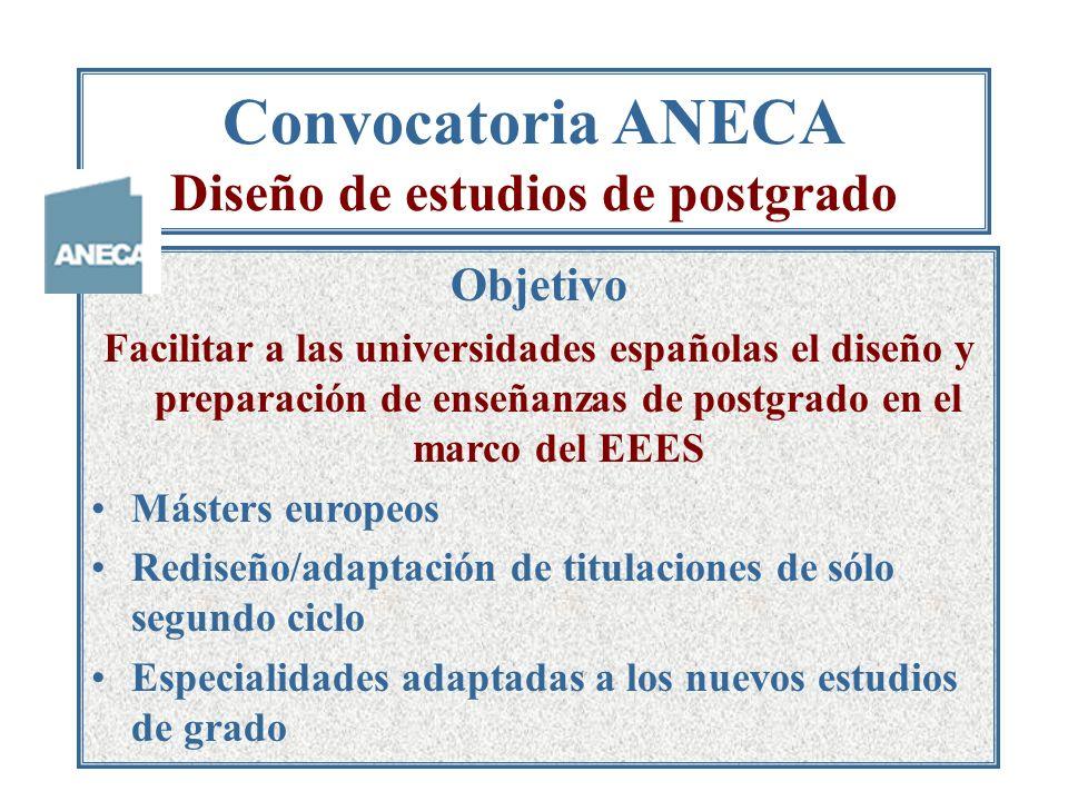 Convocatoria ANECA Diseño de estudios de postgrado Objetivo Facilitar a las universidades españolas el diseño y preparación de enseñanzas de postgrado en el marco del EEES Másters europeos Rediseño/adaptación de titulaciones de sólo segundo ciclo Especialidades adaptadas a los nuevos estudios de grado