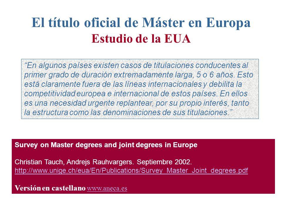 El título oficial de Máster en Europa Estudio de la EUA En algunos países existen casos de titulaciones conducentes al primer grado de duración extremadamente larga, 5 o 6 años.