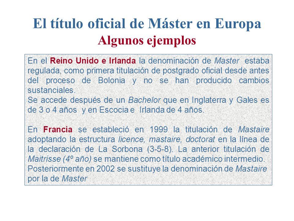El título oficial de Máster en Europa Algunos ejemplos En el Reino Unido e Irlanda la denominación de Master estaba regulada, como primera titulación de postgrado oficial desde antes del proceso de Bolonia y no se han producido cambios sustanciales.