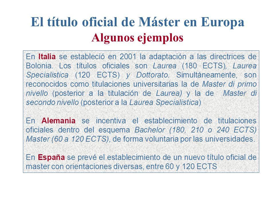 El título oficial de Máster en Europa Algunos ejemplos En Italia se estableció en 2001 la adaptación a las directrices de Bolonia.