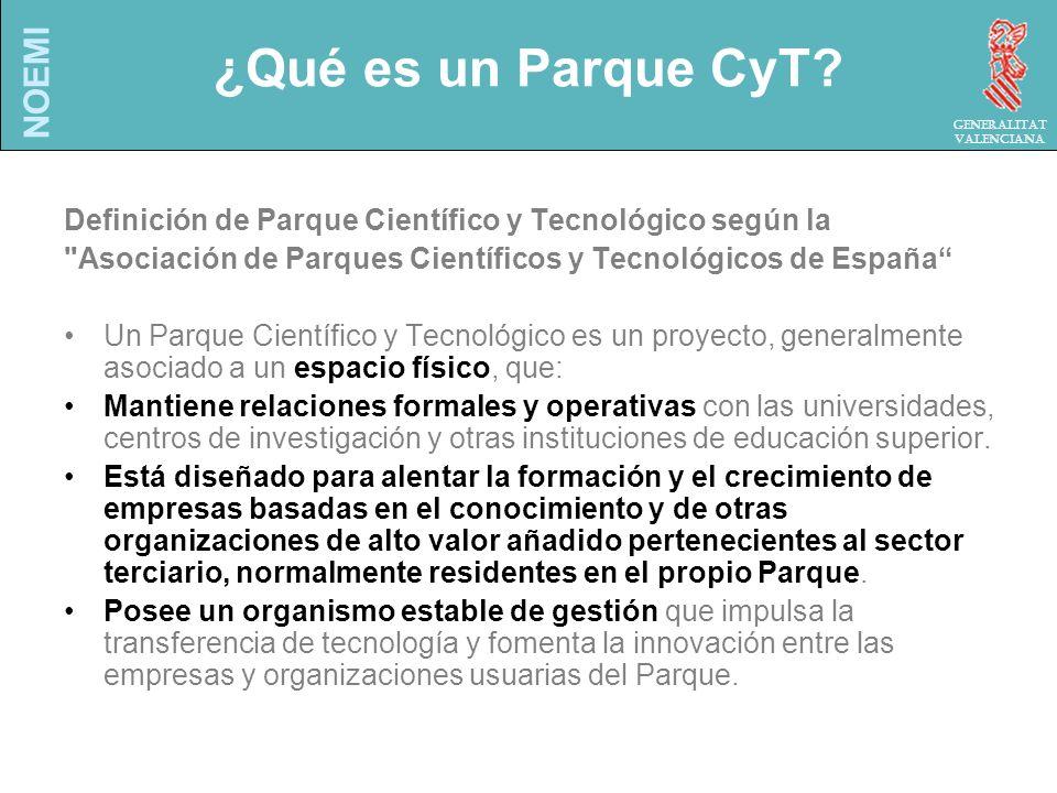 NOEMI Generalitat Valenciana Incentivos para la Universidad Estar en la punta del desarrollo tecnológico Reconocimiento Institucional.