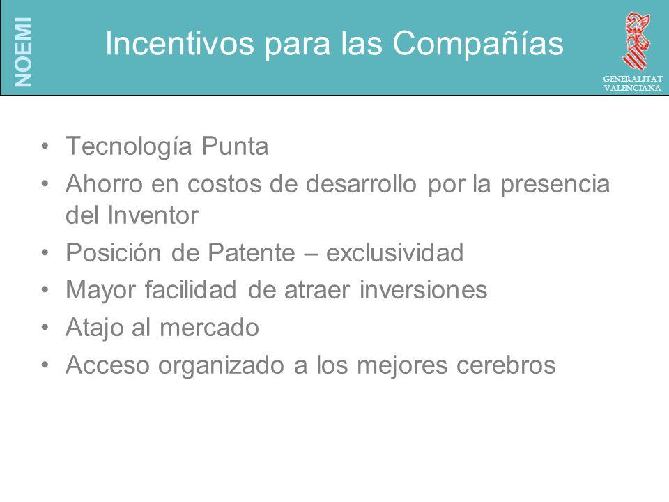 NOEMI Generalitat Valenciana Incentivos para las Compañías Tecnología Punta Ahorro en costos de desarrollo por la presencia del Inventor Posición de Patente – exclusividad Mayor facilidad de atraer inversiones Atajo al mercado Acceso organizado a los mejores cerebros