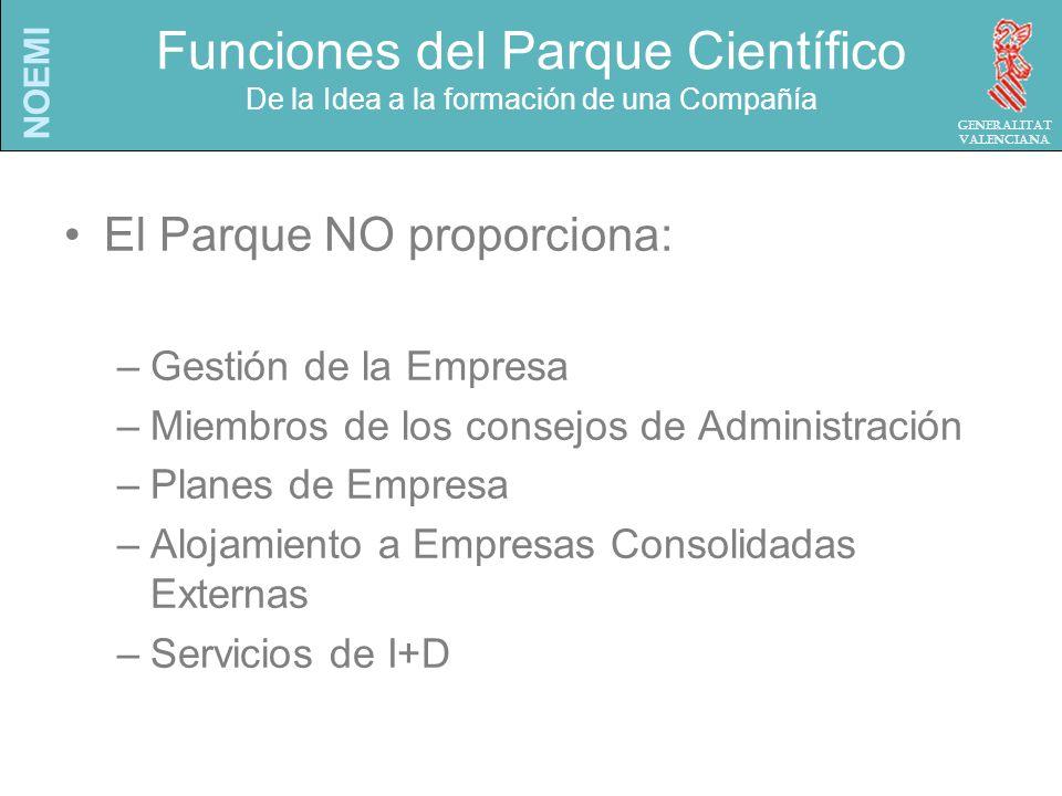 NOEMI Generalitat Valenciana Funciones del Parque Científico De la Idea a la formación de una Compañía El Parque NO proporciona: –Gestión de la Empresa –Miembros de los consejos de Administración –Planes de Empresa –Alojamiento a Empresas Consolidadas Externas –Servicios de I+D