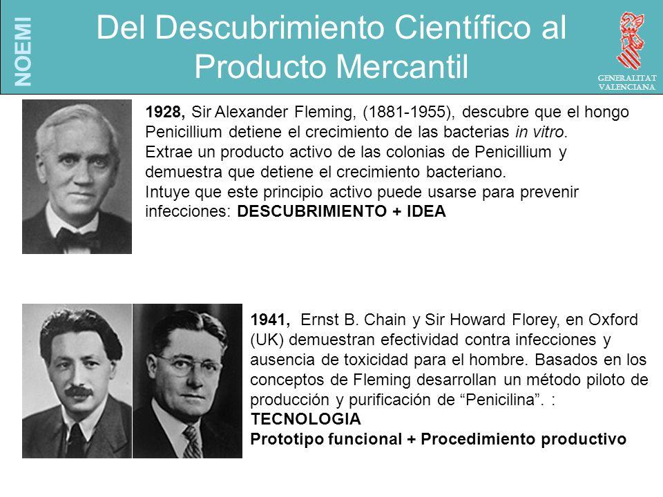 NOEMI Generalitat Valenciana 1928, Sir Alexander Fleming, (1881-1955), descubre que el hongo Penicillium detiene el crecimiento de las bacterias in vitro.