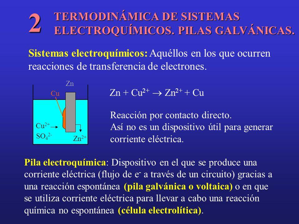 TERMODINÁMICA DE SISTEMAS ELECTROQUÍMICOS. PILAS GALVÁNICAS. 2 Sistemas electroquímicos: Aquéllos en los que ocurren reacciones de transferencia de el