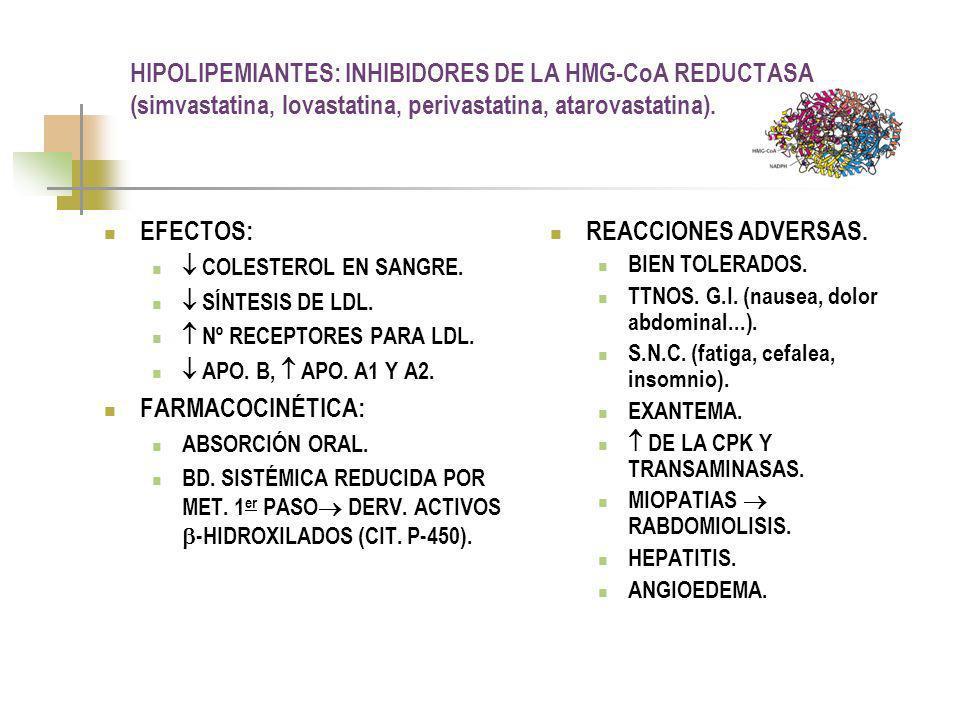 HIPOLIPEMIANTES: DERIVADOS DEL Ac.FENOXIISOBUTÍRICO (clorfibrato, gemfibrozil, benzafibrato).