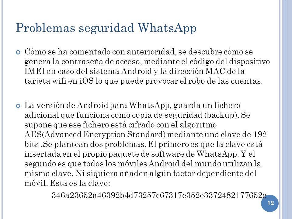 12 Problemas seguridad WhatsApp Cómo se ha comentado con anterioridad, se descubre cómo se genera la contraseña de acceso, mediante el código del disp