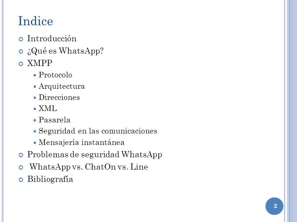 2 Indice Introducción ¿Qué es WhatsApp? XMPP Protocolo Arquitectura Direcciones XML Pasarela Seguridad en las comunicaciones Mensajería instantánea Pr