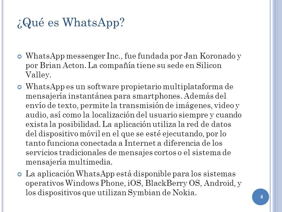 4 ¿Qué es WhatsApp? WhatsApp messenger Inc., fue fundada por Jan Koronado y por Brian Acton. La compañía tiene su sede en Silicon Valley. WhatsApp es