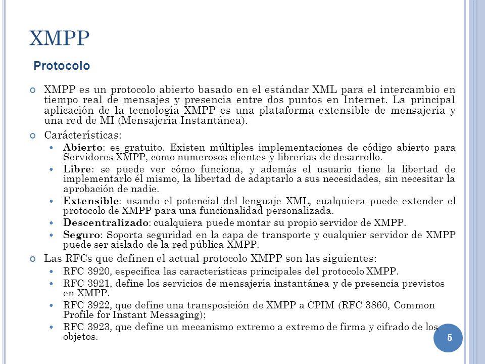 5 XMPP XMPP es un protocolo abierto basado en el estándar XML para el intercambio en tiempo real de mensajes y presencia entre dos puntos en Internet.