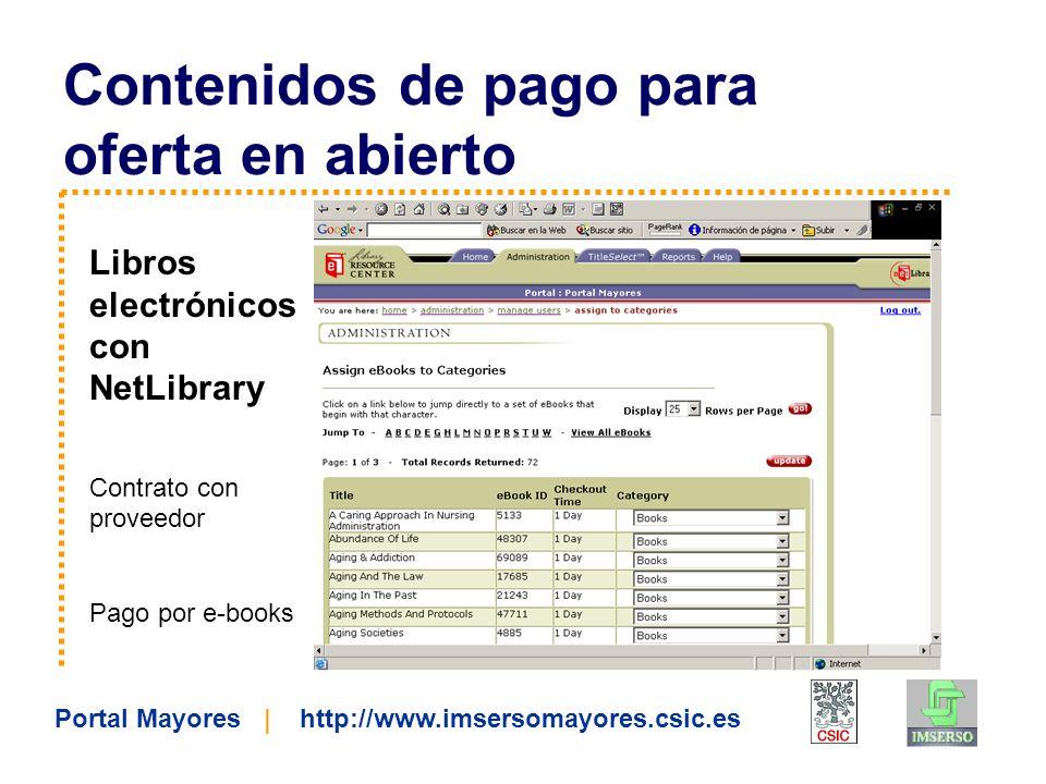 Portal Mayores | http://www.imsersomayores.csic.es Contenidos de pago para oferta en abierto Libros electrónicos con NetLibrary Contrato con proveedor Pago por e-books