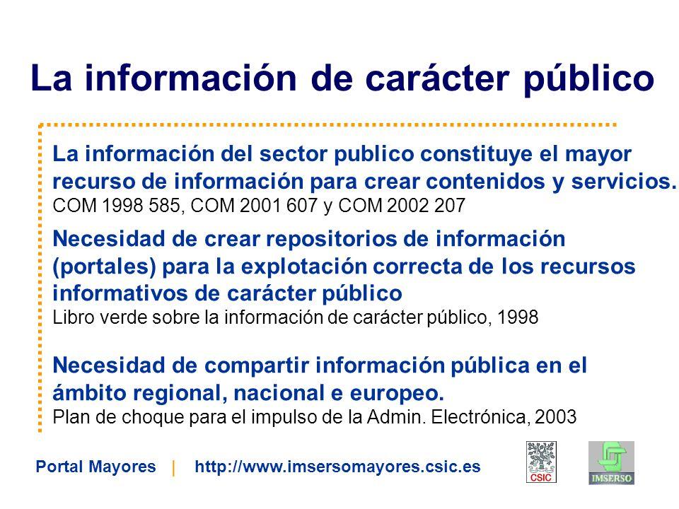 La información del sector publico constituye el mayor recurso de información para crear contenidos y servicios. COM 1998 585, COM 2001 607 y COM 2002