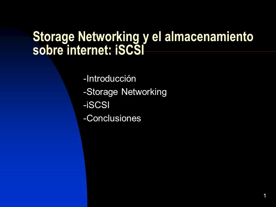 1 Storage Networking y el almacenamiento sobre internet: iSCSI -Introducción -Storage Networking -iSCSI -Conclusiones