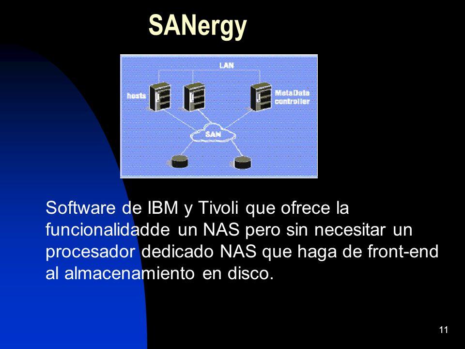 11 SANergy Software de IBM y Tivoli que ofrece la funcionalidadde un NAS pero sin necesitar un procesador dedicado NAS que haga de front-end al almace