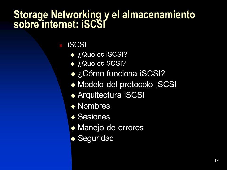 14 Storage Networking y el almacenamiento sobre internet: iSCSI iSCSI ¿Qué es iSCSI? ¿Qué es SCSI? ¿Cómo funciona iSCSI? Modelo del protocolo iSCSI Ar