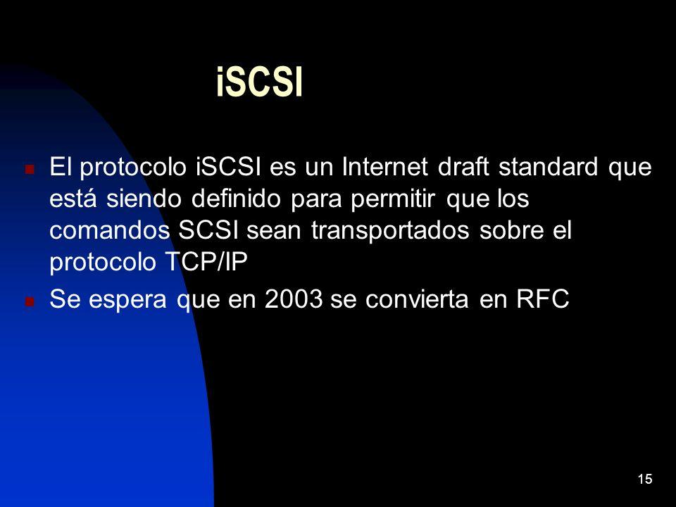 15 iSCSI El protocolo iSCSI es un Internet draft standard que está siendo definido para permitir que los comandos SCSI sean transportados sobre el pro