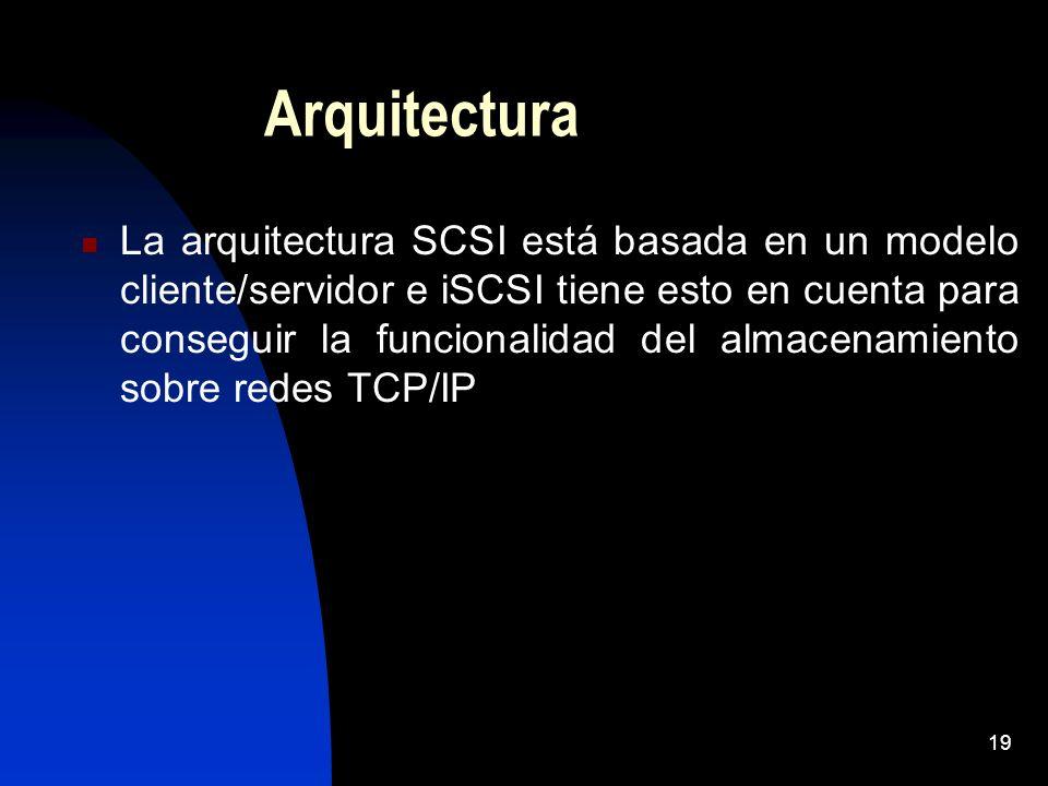 19 Arquitectura La arquitectura SCSI está basada en un modelo cliente/servidor e iSCSI tiene esto en cuenta para conseguir la funcionalidad del almace