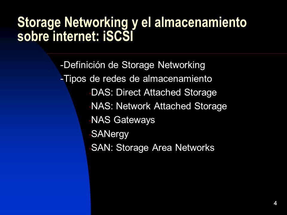4 Storage Networking y el almacenamiento sobre internet: iSCSI -Definición de Storage Networking -Tipos de redes de almacenamiento DAS: Direct Attache