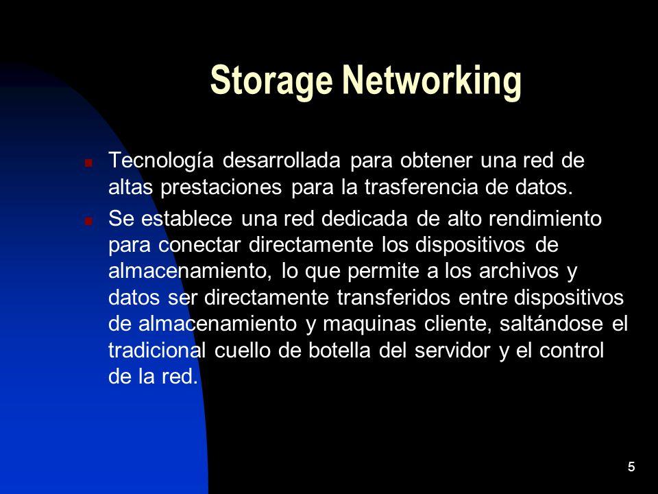 5 Storage Networking Tecnología desarrollada para obtener una red de altas prestaciones para la trasferencia de datos. Se establece una red dedicada d