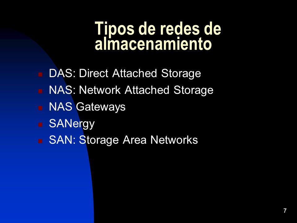 7 Tipos de redes de almacenamiento DAS: Direct Attached Storage NAS: Network Attached Storage NAS Gateways SANergy SAN: Storage Area Networks