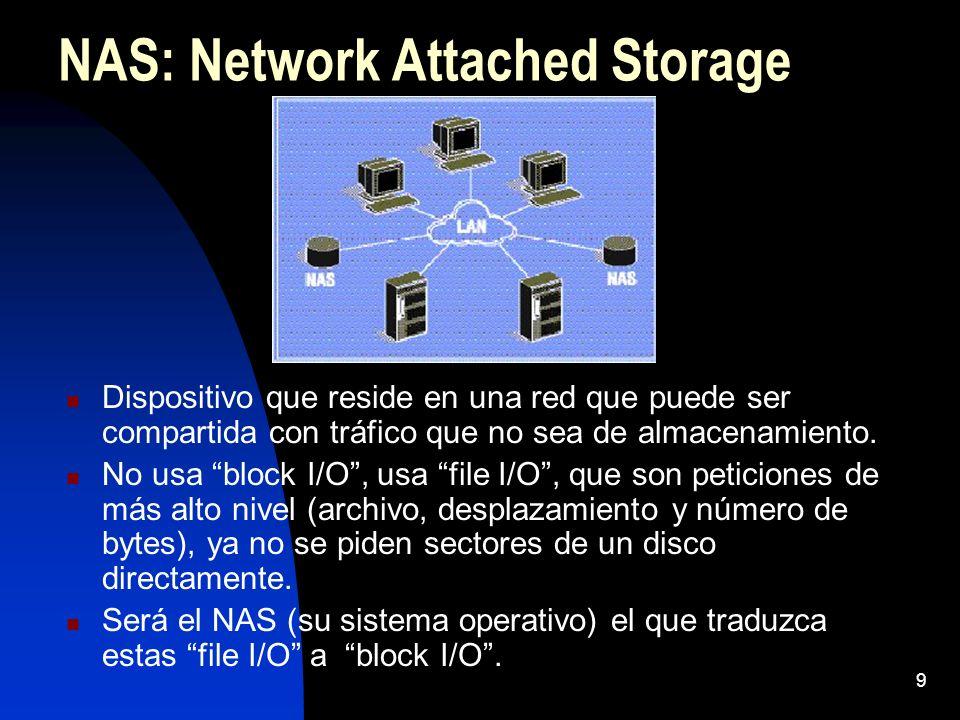 9 NAS: Network Attached Storage Dispositivo que reside en una red que puede ser compartida con tráfico que no sea de almacenamiento. No usa block I/O,