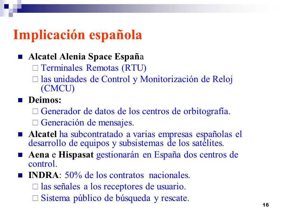 16 Implicación española Alcatel Alenia Space España Terminales Remotas (RTU) las unidades de Control y Monitorización de Reloj (CMCU) Deimos: Generado